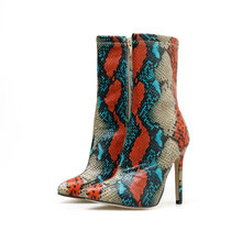 2020 новые женские ботинки на высоком каблуке 11,5 см ботинки с острым носком ботильоны на молнии под змеиную кожу осенние туфли стриптизерши с...(Китай)