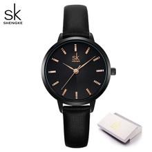 Shengke Новые поступления черный ремешок Rosegold чехол бизнес стильные женские часы грациозные весы циферблат Reloj Para Mujer Correa De Cuero(Китай)