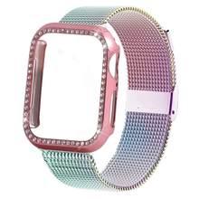 Шикарный чехол + ремешок для Apple Watch 44 мм 40 мм iWatch 42 мм 38 мм браслет из нержавеющей стали Миланская петля Apple watch 5 4 32(Китай)
