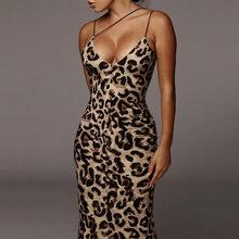 Сексуальное облегающее платье с леопардовым принтом, женское платье на бретельках, платье без рукавов для вечеринки, одежда со змеиным прин...(Китай)