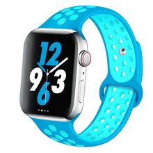 Силиконовый ремешок для Apple watch band 44 мм/40 мм iWatch band 42 мм/38 мм дышащий спортивный Браслет Apple watch 5 4 3 38 42 40 44 мм(Китай)