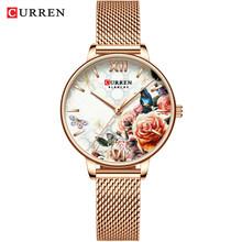 CURREN красивый цветочный дизайн часы женские модные повседневные кожаные женские наручные часы женские кварцевые часы(Китай)