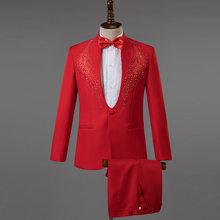 Белый свадебный костюм для жениха, мужской костюм, Homme Mariage 2020, стильная Алмазная вышивка, приталенный смокинг, мужские костюмы с брюками(Китай)