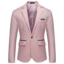 Небесно-Голубой пиджак на одной пуговице для мужчин 2020 модный блейзер с отворотом для мужчин приталенный повседневный деловой Свадебный Бл...(China)