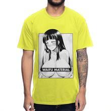 Хлопковая Винтажная Футболка Waifu, Мужская Аниме-футболка, мужской с круглым воротником размера плюс, Мужская футболка(Китай)