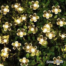 20 светодиодный садовый светильник на солнечной батарее, Рождественский Сказочный светильник, водонепроницаемая Цветочная Гирлянда для ул...(Китай)