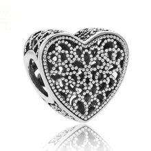 Openworrk I Love You Лучшая Мама цветущее сердце наполненный романтикой Шарм Fit Pandora браслет 925 пробы серебряные ювелирные бусинки(Китай)