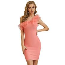 Женское платье, сексуальное, летнее, осеннее, с оборками, на одно плечо, элегантное, знаменитостей, Бандажное платье, облегающее, 2020, Новое по...(Китай)
