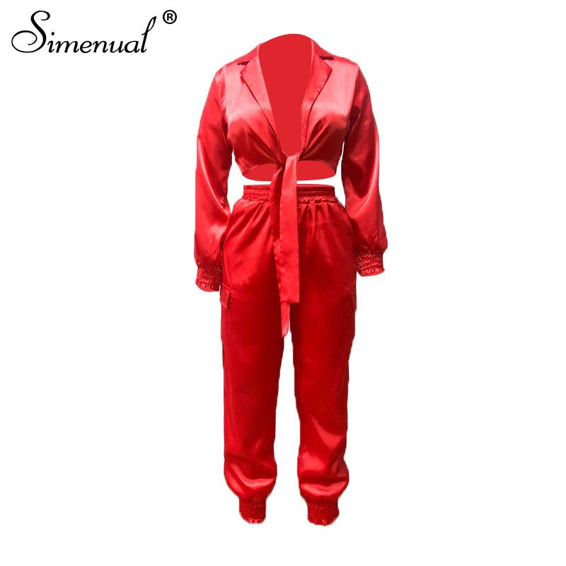 Simenual, атласный сексуальный бандаж, Женский комплект, модный, однотонный, облегающий, с длинным рукавом, из двух частей, наряды, вечерние, коро...(Китай)