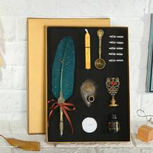 Винтажная антикварная ручка с птичьим пером, набор перьевых ручек, коллекционные ручки, набор чернил для письма, канцелярские принадлежнос...(Китай)