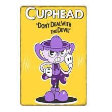 Видео игры Funko поп Cuphead металлический плакат Mugman дьявол легендарная чаша настенные художественные печатные оловянные плакаты домашний деко...(Китай)