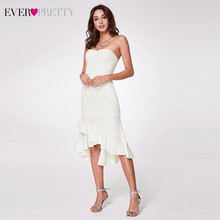 Элегантные белые платья для выпускного вечера Ever Pretty EP05988WH, без бретелек, с рюшами, блестками, драпированные, с открытой спиной, вечерние пла...(Китай)