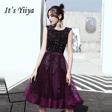 Женское вечернее платье с круглым вырезом It's Yiiya, платье без рукавов с глубоким фиолетовым блестками, вечерние платья большого размера плюс ...(Китай)