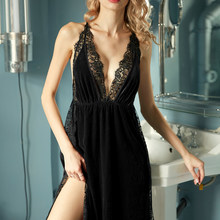 Черная, красная ночная рубашка без рукавов, ночное платье принцессы для женщин, сексуальное ночное белье, золотой бархат, кружево, привлекат...(Китай)