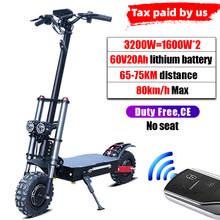 80 км/ч мощные электрические скутеры для взрослых 60 в 3200 Вт 11 дюймов внедорожные шины с двумя двигателями Электрический скейтборд Ховерборд(Китай)