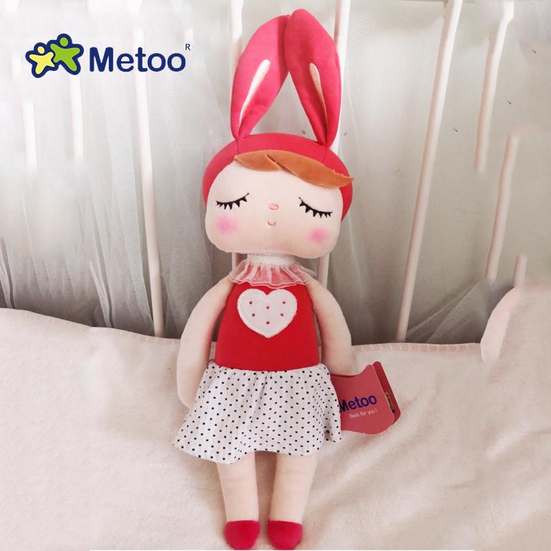 Metoo новые на подкладке из плюша и мягкие милые милый кролик Животные для детей игрушки кукла Анджела для девочек для дня рождения, рождестве...(Китай)