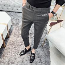 Мужские облегающие брюки, повседневные деловые брюки для свадьбы, уличная одежда, черная, серая, 2020(Китай)