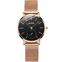 OLEVS модные женские часы с сетчатым браслетом, розовое золото, повседневное роскошное платье, водонепроницаемые наручные часы для леди zegarek ...(China)