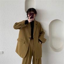 Женский винтажный костюм в Корейском стиле, свободный пиджак и брюки, офисная одежда 2020, женские костюмы, уличная мода, комплект из 2 предмет...(Китай)