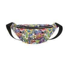 Креативный дизайн, повседневные нагрудные сумки для женщин и мужчин, нейлон, Классическая текстура, шикарный кошелек Fanny, талия, граффити, су...(Китай)