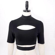 Женские спортивные блузки с коротким рукавом, однотонные, зеленые, черные, на бретельках, для лета, 2020(Китай)