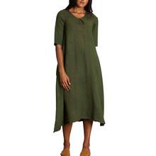 Женское Хлопковое платье ZANZEA, однотонное платье средней длины до середины голени, модные длинные платья средней длины, большие размеры(Китай)