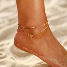 Женский браслет на щиколотке IF YOU Bohemian с бусинами в форме сердца, Золотой Серебряный браслет на щиколотке 2020, модные ювелирные изделия(Китай)