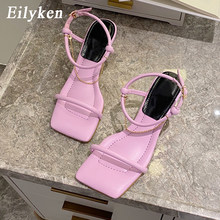 Eilyken/Элегантные женские свадебные модельные туфли; Модные сандалии с ремешком на щиколотке и металлической цепочкой; Женские туфли на шпиль...(China)