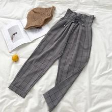 Женские брюки в клетку LLYGE Harajuku, свободные брюки с высокой талией и широкими штанинами, весна-лето 2020(Китай)