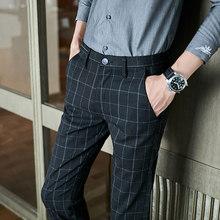 Осенне-зимние мужские деловые брюки, серые клетчатые повседневные облегающие брюки под платье, 2020 брендовые Формальные Брюки для свадьбы, ...(Китай)
