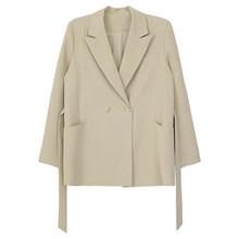 [EAM] Женский абрикосовый Асимметричный Блейзер большого размера, новая свободная куртка с отворотом и длинным рукавом, модная демисезонная ...(Китай)