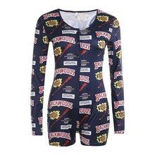 Пижама Onesi с длинным рукавом и v-образным вырезом, новый сексуальный комбинезон для взрослых женщин с забавным принтом, пижама для женщин, до...(Китай)