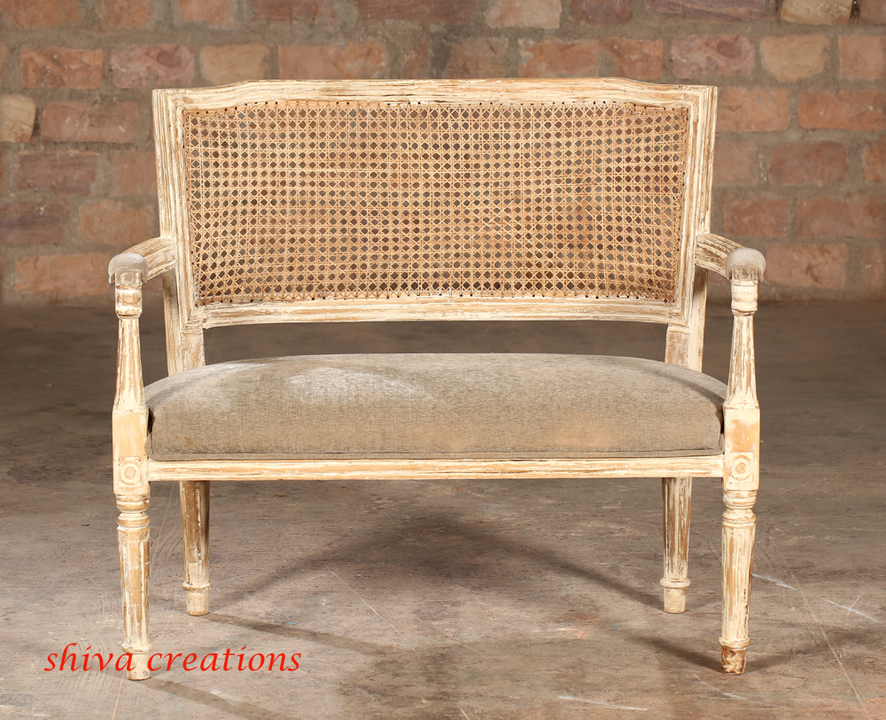 French Country Vintage Antique Cane Back Settee Sofa Buy