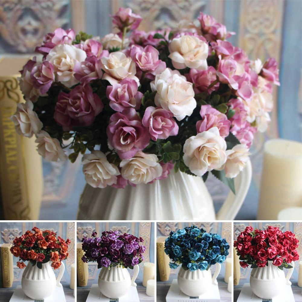 Free Shipping Austin Bunch 15 Heads Spring Silk Flowers Artificial Rose Wedding Floral Decor Plant Flower Arrangement Home Decor