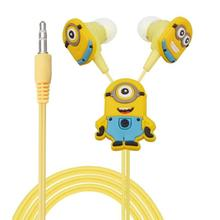 500pcs/lot Despicable Me Minions Cartoon Cute In-ear Earphone 3.5 mm Jack Headphone Headset for Mobile Phone MP3 CD Player iPod