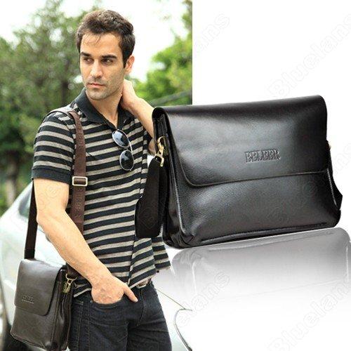 d923205f908e Men  s Shoulder Briefcase Messenger Bag Large High Quality Genuine Leather  Free Shipping zipper seal Handbag