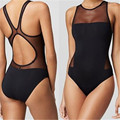2016 Sexy One Piece Swimsuit Women Black Mesh One Piece Swimwear Woman Sports Bathing Swiming Suit