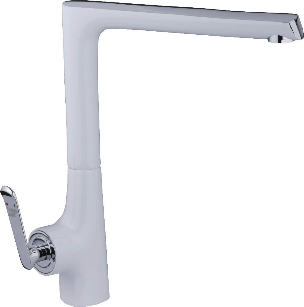 Cleanflo Andromeda White  Handle Pull Out Deck Mount Kitchen Faucet