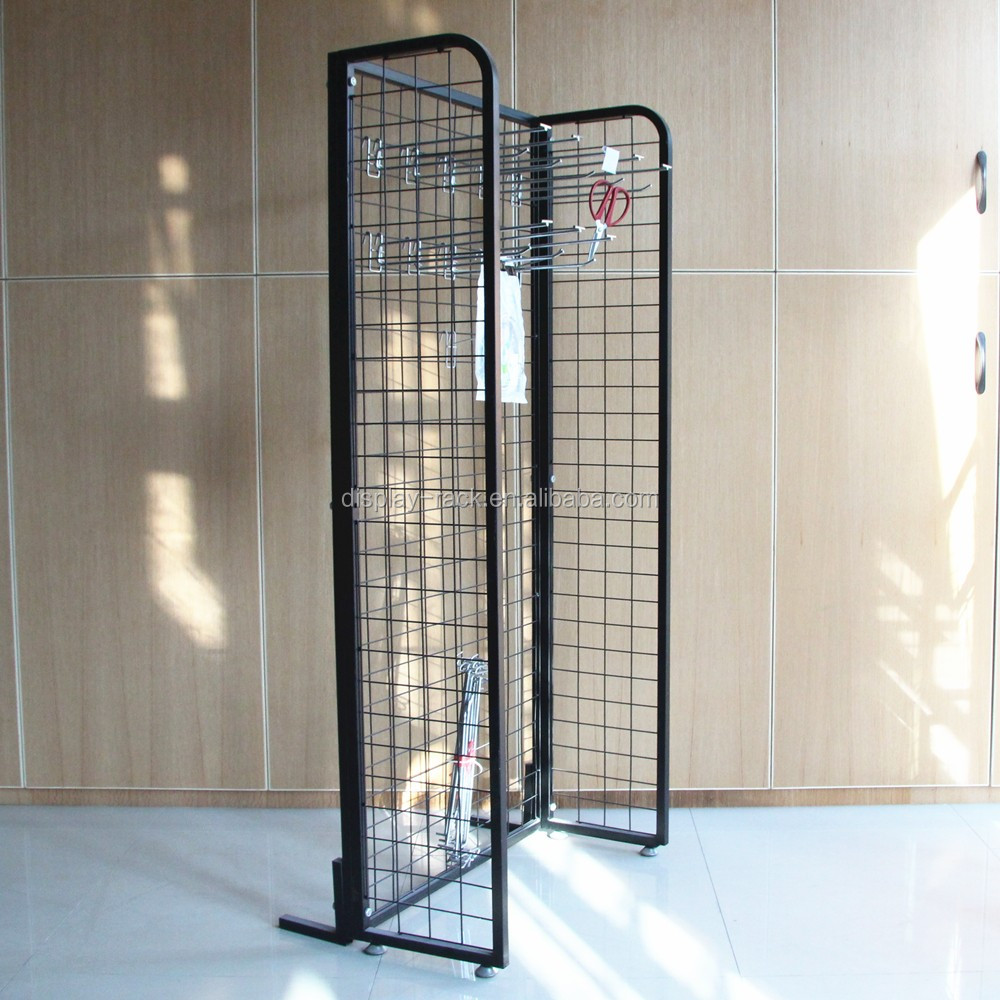Free Standing Metal Wire Grid Mesh Display Panels Shelf