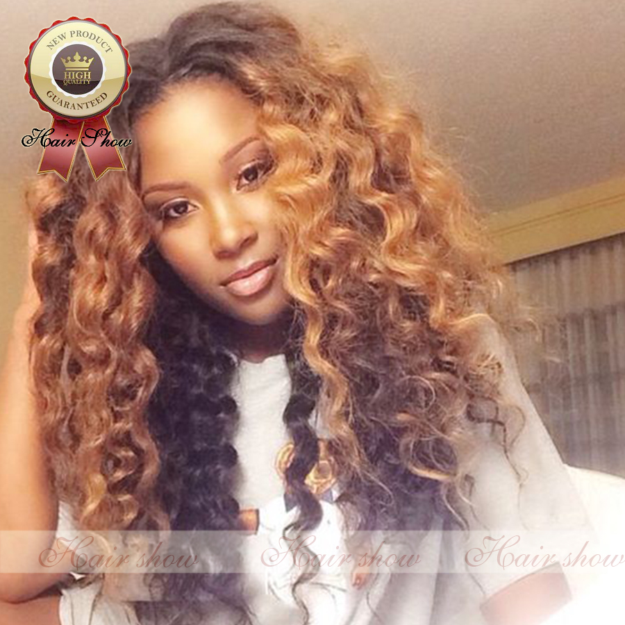8a Hot Sale Brazilian Hair Ombre Loose Curly Wig 1bt 27