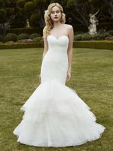 2016 Latest Organza Mermaid Wedding Dress Sweetheart Backless Pleats Simple Cheap Vestido de novia Custom Wedding Gown YX155