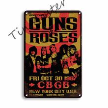 Пистолеты R ROSES Рок н ролл металлический постер жестяная вывеска винтажный Джони кэш бар для паба домашние настенные вывески человек пещера ...(Китай)